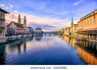 Panoramic view of the old town of Zurich and Limmat river on sunrise, Switzerland