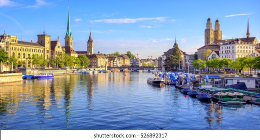 Panoramic view of the old town of Zurich on Limmat river with Clock Tower and Frauenmunster Cathedral, Switzerland