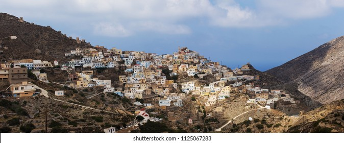 Panoramic view of old tradition village Olympos in Karpathos island, Dodecanese Greece