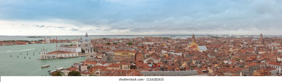 Panoramic view of old Venice from the top of the Campanile of St. Mark's Square