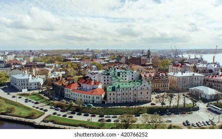 Panoramic view of the old Viipuri city from the observation deck of the Vyborg Castle, Russia. Historical part of Viipuri (Vyborg). Medieval Vyborg, Russia.