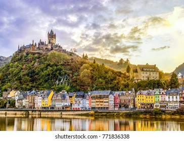 Panoramic view at the old village of Cochem Germany December 2017