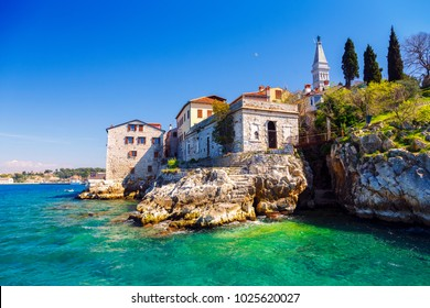 Panoramic view at the old village of Rovinj Istria Croatia