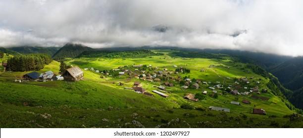 Panoramic view to Omalo mountain village in Tusheti nature reserve. Georgia