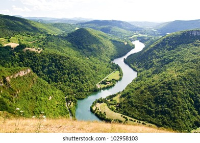Panoramic view on Ain river