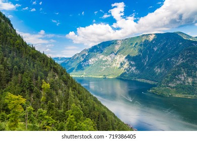 Panoramic view on Alps and lake Hallstatt, Salzkammergut, Austria in a beautiful summer day