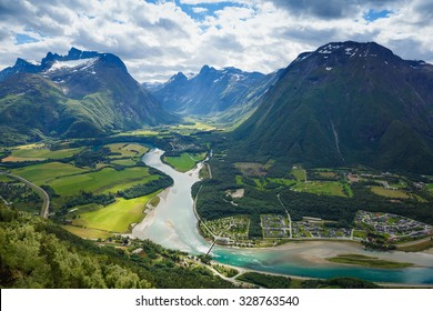 Panoramic view on Andalsnes City, Norway Mountain Landscape