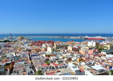 Panoramic view on the Andalusian city of Almeria on a sunny summer day, with tilt shift effect