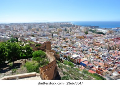Panoramic view on the Andalusian city of Almeria on a sunny summer day, with tilt shift effect.