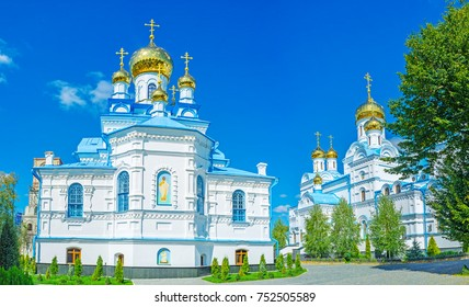 Panoramic view on architectural ensemble of  Holy Spirit Skete with All Saints and Holy Spirit churches, Pochaev, Ukraine