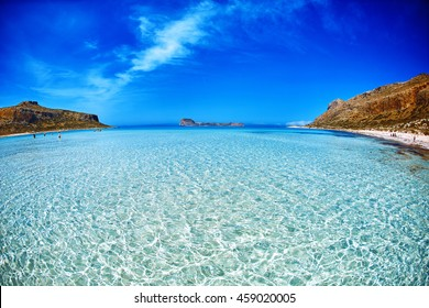 panoramic view on Balos beach, Crete, Greece. light sand under the clear water in the foreground.