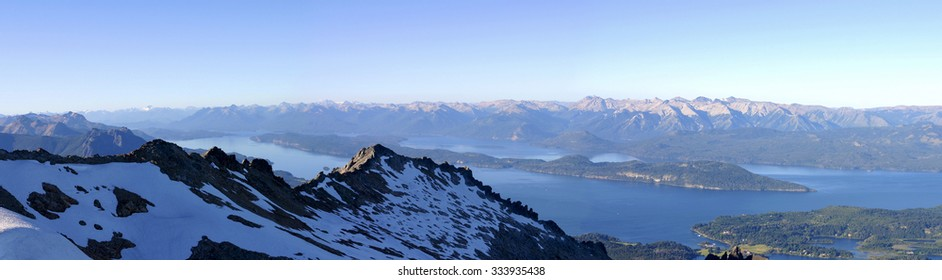 Panoramic View on Bariloche, the mountains and the Lakes - Patagonia. Argentina