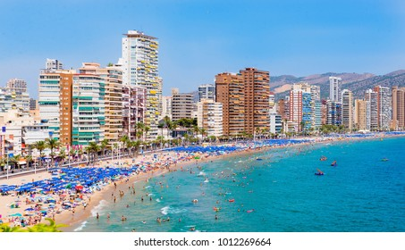 Panoramic view on the beach of Benidorm full of tourist