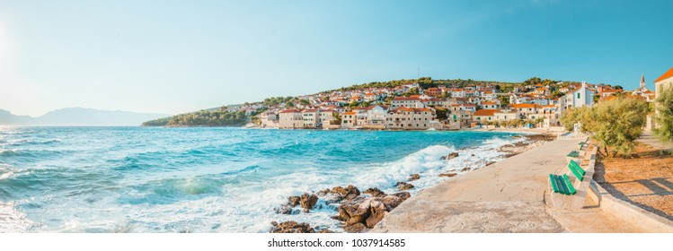 Panoramic view on a beach of small town Postira - Croatia, Brac island