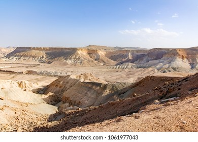 Panoramic view on biggest canyon in Israel near town of Mizpe Ramon in Negev desert