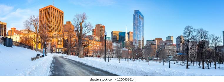 Panoramic view on Boston public garden at winter