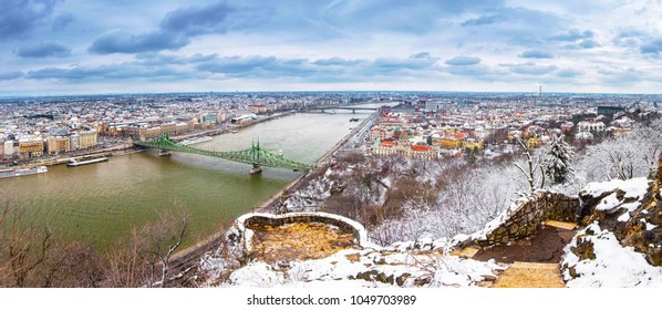 Panoramic view on Budapest in winter