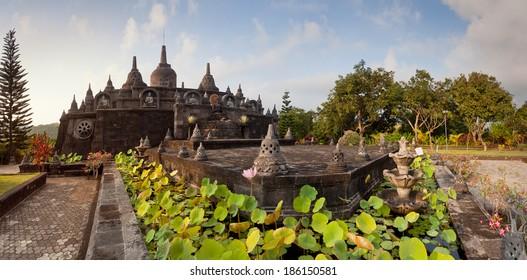 Panoramic view on budhist temple Brahma Vihara-Arama Banjar to Lovina, Indonesia, Bali, small version of Borobudur temple on Java