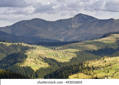 Panoramic view on Carpathian mountain village