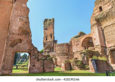 Panoramic view on the central part of the ancient Roman Baths of Caracalla ( Thermae Antoninianae ) at summer sunny day.Famous architectural landmark built between AD 212 - 217. Rome. Italy. Europe.