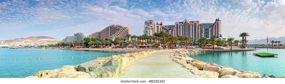 Panoramic view on the central public beach in Eilat - famous resort city in Israel