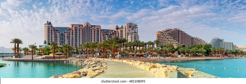 Panoramic view on the central public beach of Eilat - famous resort city in Israel