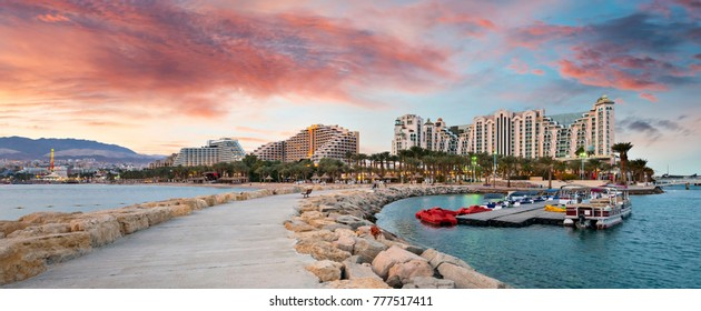 Panoramic view on the central public pier and beach in Eilat - famous resort city in Israel
