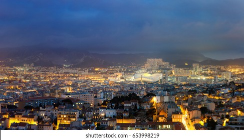 Panoramic view on the city of Marseille with Velodrome Stadium