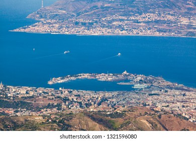 Panoramic view on the city of Messina and the Strait of Messina.