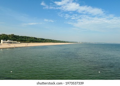 A panoramic view on the coastal line in Gdansk, Poland, from a small pier above the Baltic Sea. The sandy beach has a thick forest behind it. Calm sea. A few birds drifting on the water. Serenity