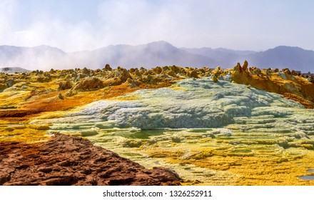 Panoramic view on Dallol volcano, Ethiopia