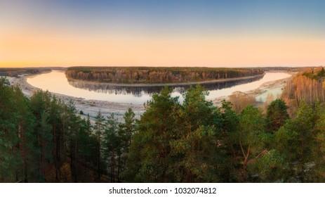 Panoramic view on Daugavas Loki Nature park in Latvia