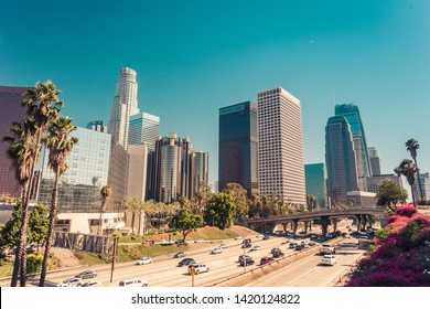 Panoramic view on downtown of Los Angeles, California, USA, over route 110, vintage retro toned