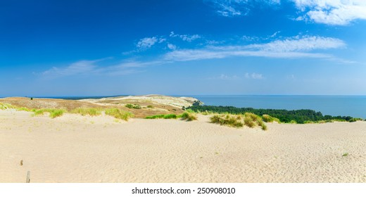 Panoramic view on dunes of the Curonian spit. This place to the highest drifting sand dunes in Europe. Nida, Lithuania.