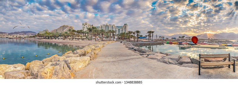 Panoramic view on Eilat from stone walking pier, Eilat is a famous tourist resort and recreational city in Israel