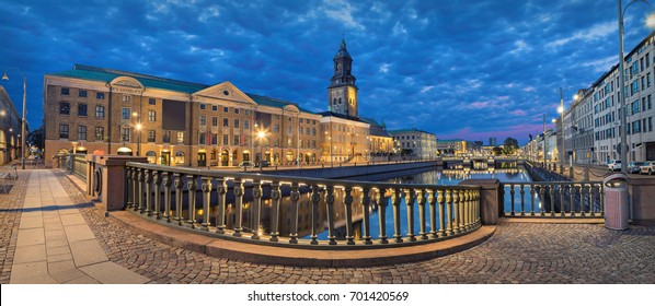 Panoramic view on the embankment from Residence bridge in the evening in Gothenburg, Sweden