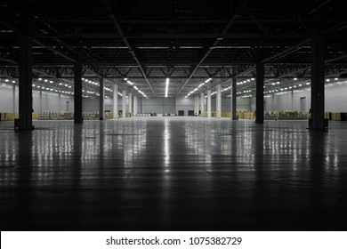 Panoramic view on empty pavilion hall under construction, with dark front and light on the back wall, floor reflection. Interior metal construction. Darkness to light concept