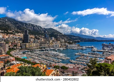 Panoramic view on excellent residential buildings and marina in Monte Carlo, Monaco. Principality of Monaco is a sovereign city state, located on the French Riviera in Western Europe.