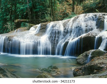 Panoramic view on famous Thailand waterfall