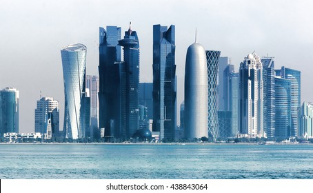 Panoramic view on financial center of Doha from West Bay  .Doha is a city on the coast of the Persian Gulf, the capital and largest city of the Arab state of Qatar.