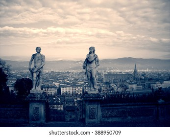Panoramic view on Florence from Bardini Garden, Italy, in black and white. Monochrome image filtered in retro, vintage style with extremely soft focus and red filter, high contrast dramatic effect.