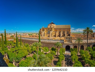 Panoramic view on the garden of Mezquita in Cordoba, Spain