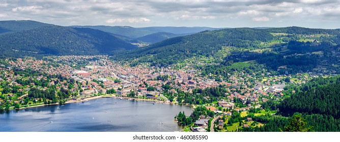 Panoramic view on Gerardmer town in the mountains Vosges, France Lorraine