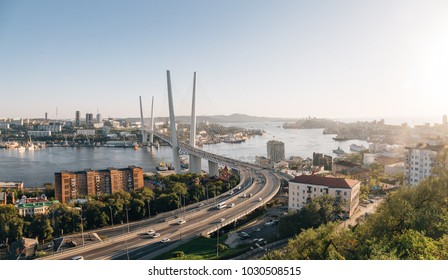 Panoramic view on Golden bridge in Golden horn bay, Vladivostok, Far East, Russia