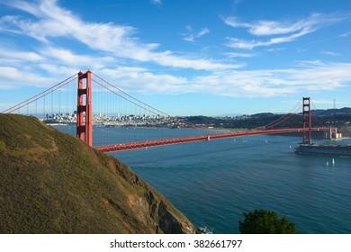 Panoramic view on Golden Gate bridge and San-Franciso bay, California. Taken in Nov 2010.