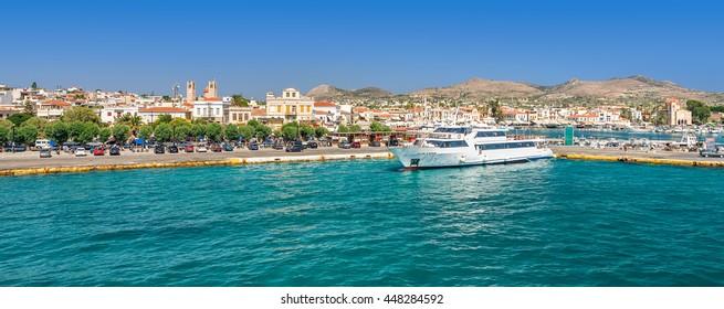 Panoramic view on greek island Aegina (Egina) at sunny summer day