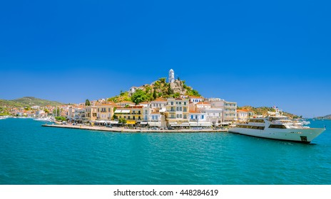 Panoramic view on greek island Poros at sunny summer day