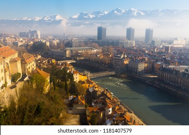 Panoramic view on Grenoble in France outdoor.