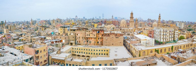 Panoramic view on historical Islamic neighborhood with residential houses and medieval mosques and mausoleums, Cairo, Egypt