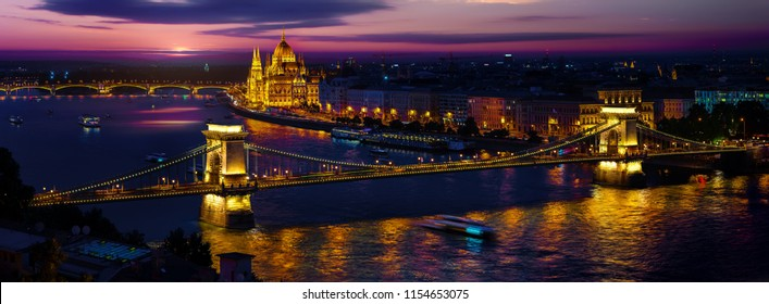 Panoramic view on illuminated Budapest in evening, Hungary